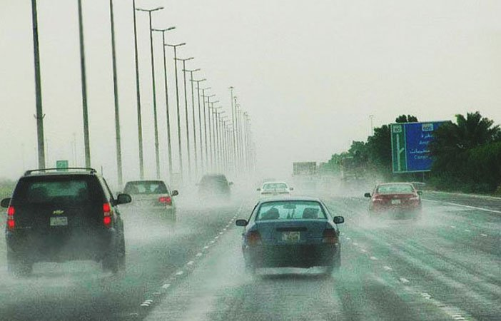 Rain sinking cars in the streets of Kuwait